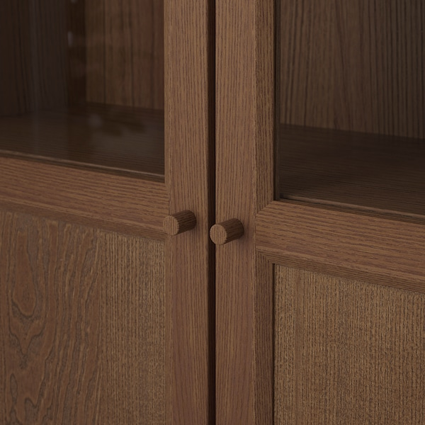 BILLY Knižnica s panel/sklen dvierkami, hnedá/jaseňová dyha, 80x30x202 cm