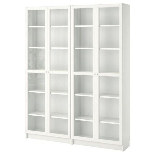 BILLY / OXBERG knižnica biela/sklo 160 cm 30 cm 202 cm 30 kg