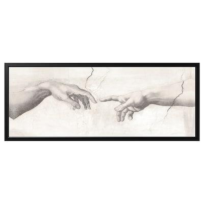BJÖRKSTA Obraz s rámom, Dotyk/čierna, 140x56 cm