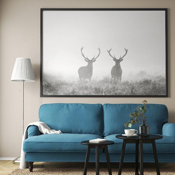 BJÖRKSTA Obraz s rámom, Jelene v hmle/čierna, 200x140 cm