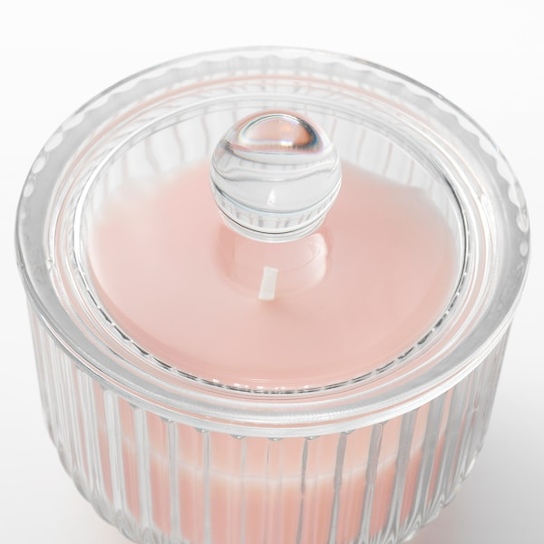 BLOMDOFT Vonná sviečka v skle, hrachor/svetlooranžová, 9 cm