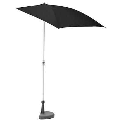 BRAMSÖN / FLISÖ slnečník s podstavcom čierna 160 cm 100 cm 157 cm 237 cm