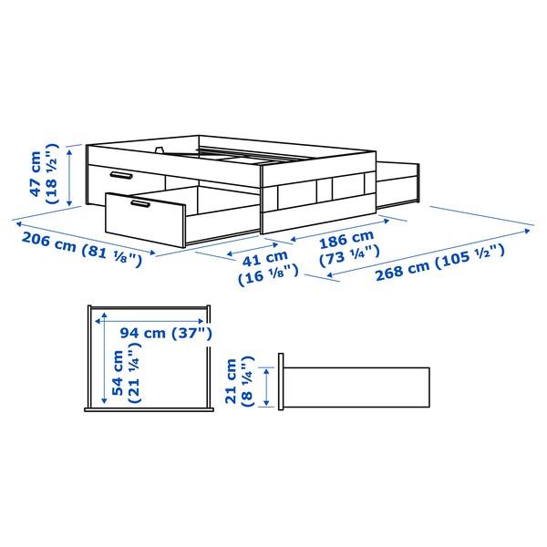 BRIMNES Rám postele s úložným priestorom, biela/Luröy, 180x200 cm