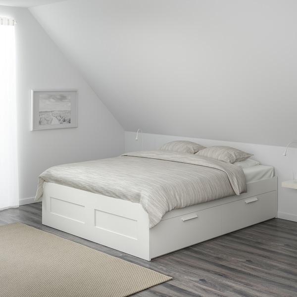 BRIMNES Rám postele s úložným priestorom, biela/Luröy, 140x200 cm