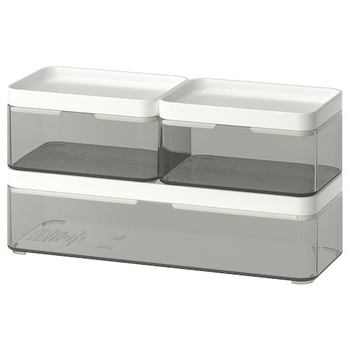 BROGRUND škatuľa, 3-diel. súprava priehľadná sivá/biela