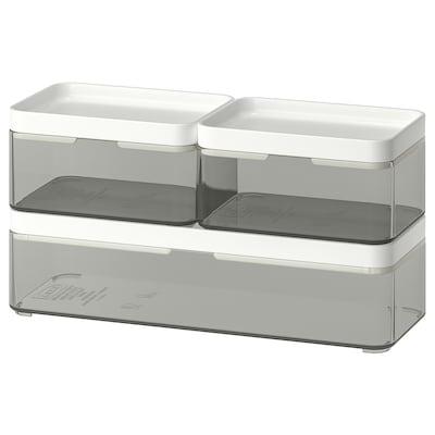 BROGRUND Škatuľa, 3-diel. súprava, priehľadná sivá/biela