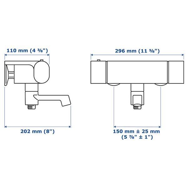 BROGRUND termostat. vaňová/sprchová batéria pochrómované 150 mm 300 mm 200 mm