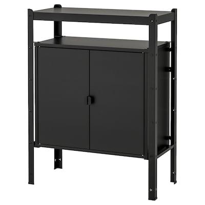 BROR Policový diel so skrinkami, čierna, 85x40x110 cm