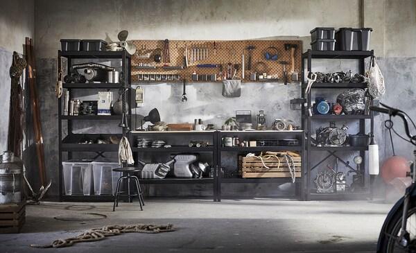 BROR Pracovná lavica, čierna/borovicová preglejka, 110x55 cm