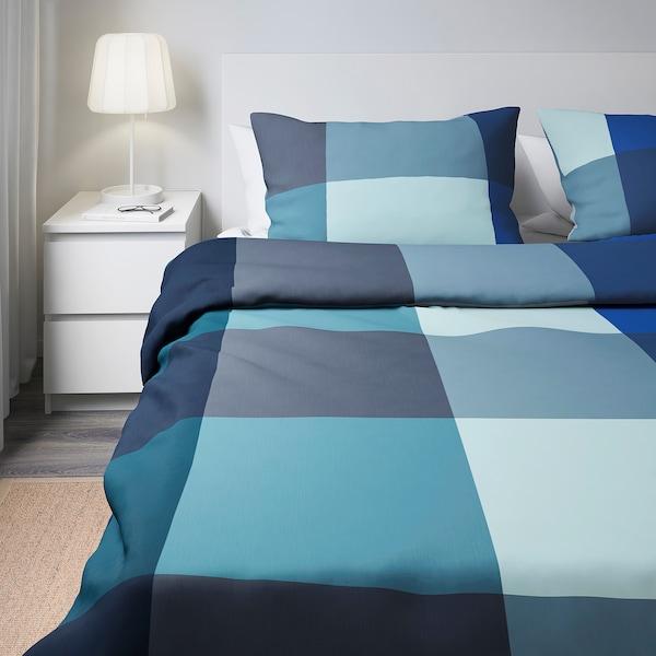 BRUNKRISSLA posteľné obliečky modrá/sivá 152 inch² 2 ks 200 cm 200 cm 50 cm 60 cm