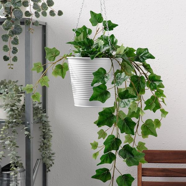 CASHEWÄPPLE Závesný kvetináč, na von/dnu biela, 15 cm