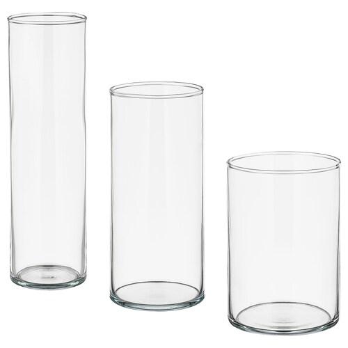 CYLINDER váza, 3 ks číre sklo
