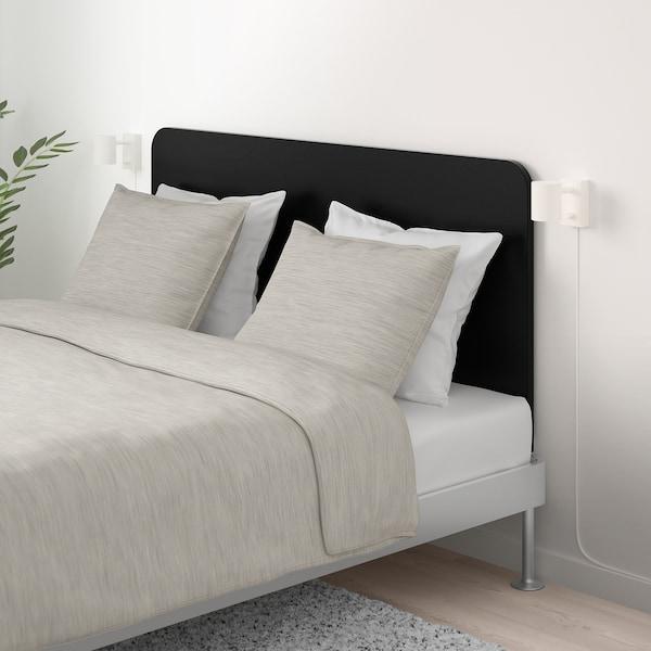 DELAKTIG Rám postele s čelom, hliník/čierna, 160x200 cm