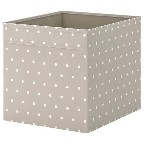 DRÖNA škatuľa béžová/bodkované 33 cm 38 cm 33 cm