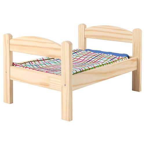 DUKTIG posteľ pre bábiku borovica/viacfarebný 52 cm 36 cm 30 cm