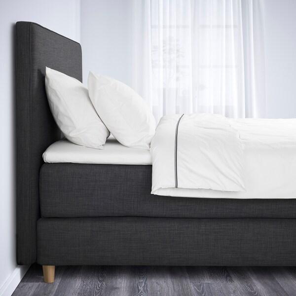DUNVIK Čalúnená posteľ, Hövåg tvrdý/Tuddal tmavosivá, 180x200 cm