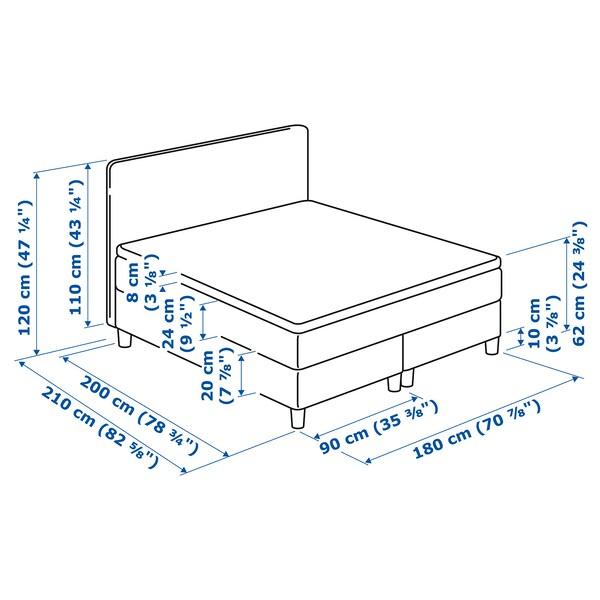 DUNVIK Čalúnená posteľ, Hövåg veľmi tvrdý/Tussöy GUNNARED béžová, 180x200 cm