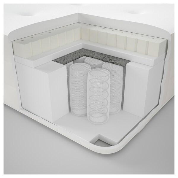 DUNVIK Čalúnená posteľ, Hyllestad stredne tvrdý/Tussöy GUNNARED béžová, 180x200 cm