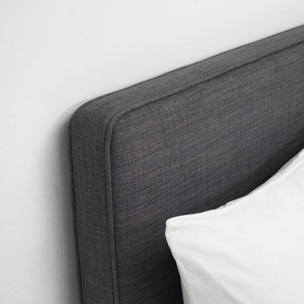 DUNVIK Čalúnená posteľ, Hyllestad stredne tvrdý/Tussöy tmavosivá, 180x200 cm