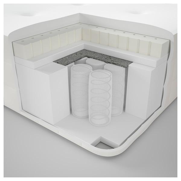 DUNVIK Čalúnená posteľ, Hyllestad stredne tvrdý/Tustna GUNNARED béžová, 180x200 cm