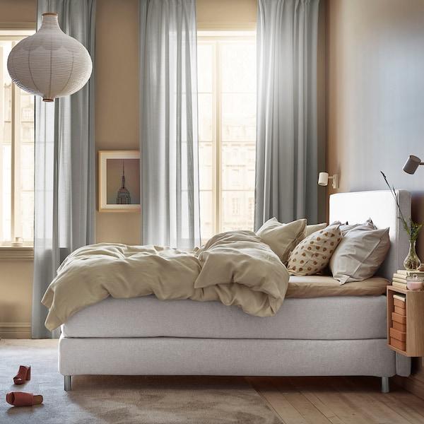 DUNVIK Čalúnená posteľ, Hyllestad tvrdý/stredne tvrdý/Tussöy GUNNARED béžová, 180x200 cm