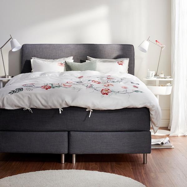DUNVIK Čalúnená posteľ, Hyllestad tvrdý/stredne tvrdý/Tustna tmavosivá, 180x200 cm