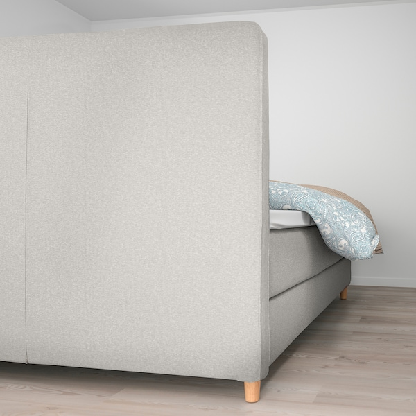 DUNVIK Čalúnená posteľ, Hyllestad tvrdý/Tussöy GUNNARED béžová, 160x200 cm