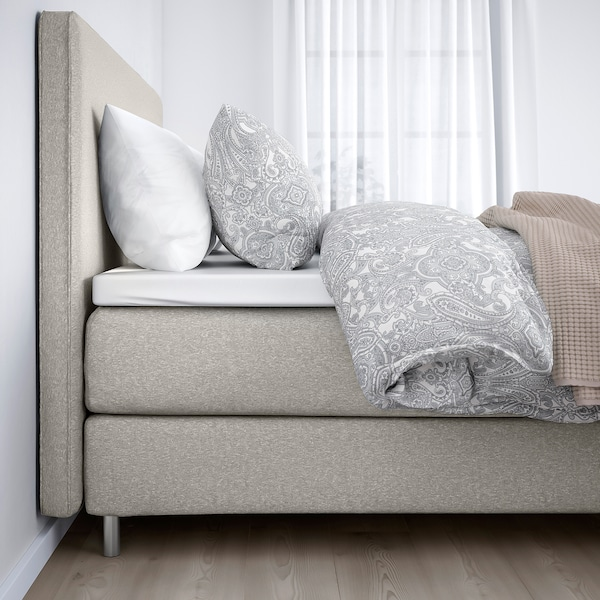 DUNVIK Čalúnená posteľ, Hyllestad tvrdý/Tustna GUNNARED béžová, 160x200 cm