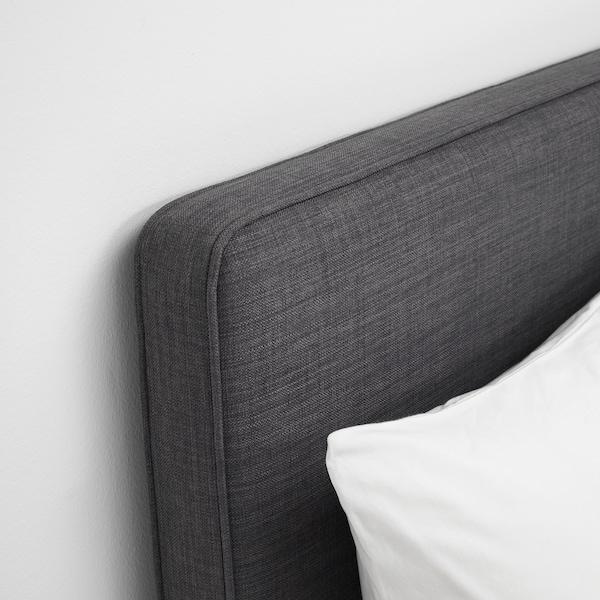DUNVIK Čalúnená posteľ, Hyllestad tvrdý/Tustna tmavosivá, 160x200 cm