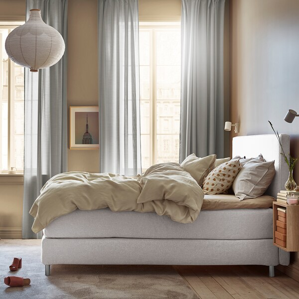 DUNVIK Čalúnená posteľ, Vatneström veľmi tvrdý/Tistedal GUNNARED béžová, 160x200 cm