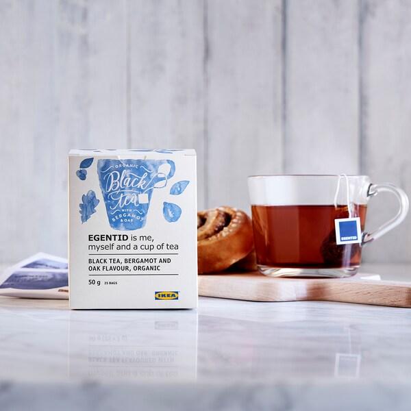 EGENTID Čierny čaj, bergamot/dub/Certifikát UTZ/organické, 50 g