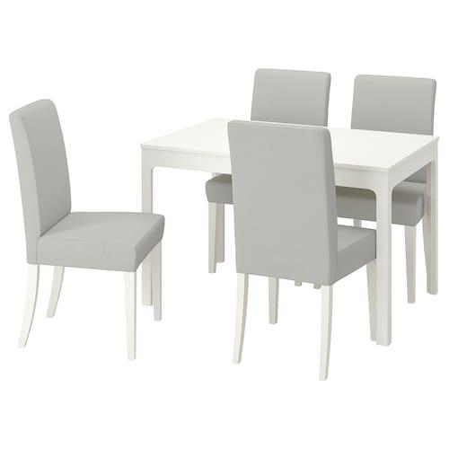 EKEDALEN / HENRIKSDAL stôl a 4 stoličky biela/Orrsta svetlosivá 120 cm 180 cm