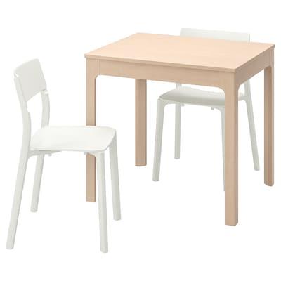 EKEDALEN / JANINGE Stôl a 2 stoličky, breza/biela, 80/120 cm
