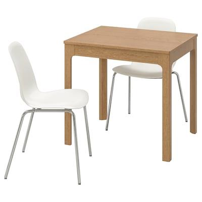 EKEDALEN / LEIFARNE Stôl a 2 stoličky, dub/biela, 80/120 cm