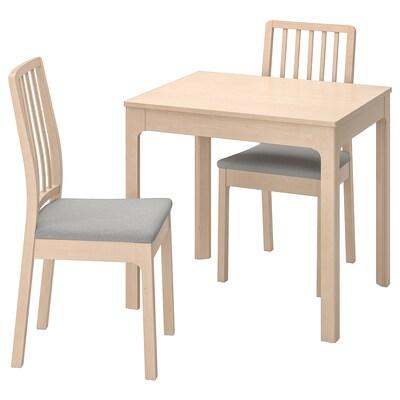 EKEDALEN Stôl a 2 stoličky, breza/Orrsta svetlosivá, 80/120 cm