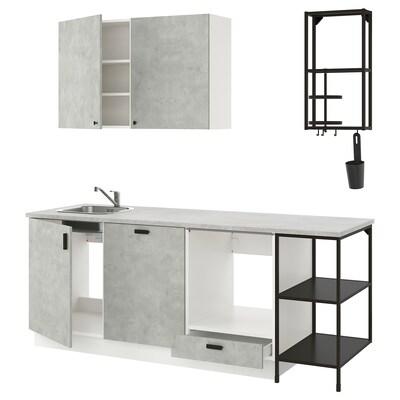 ENHET Kuchyňa, antracit/imitácia betónu, 223x63.5x222 cm