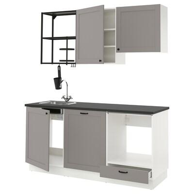 ENHET Kuchyňa, antracit/sivá rám, 183x63.5x222 cm