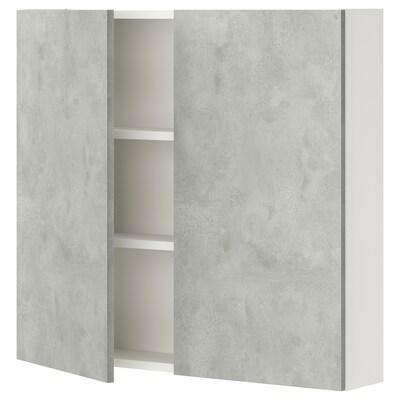 ENHET Nást skrinka s 2 pol/dvierk, biela/imitácia betónu, 80x15x75 cm