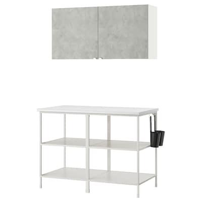 ENHET Nástenná úložná kombinácia, biela/imitácia betónu, 123x63.5x207 cm