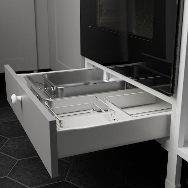ENHET Rohová kuchyňa, biela/sivá rám