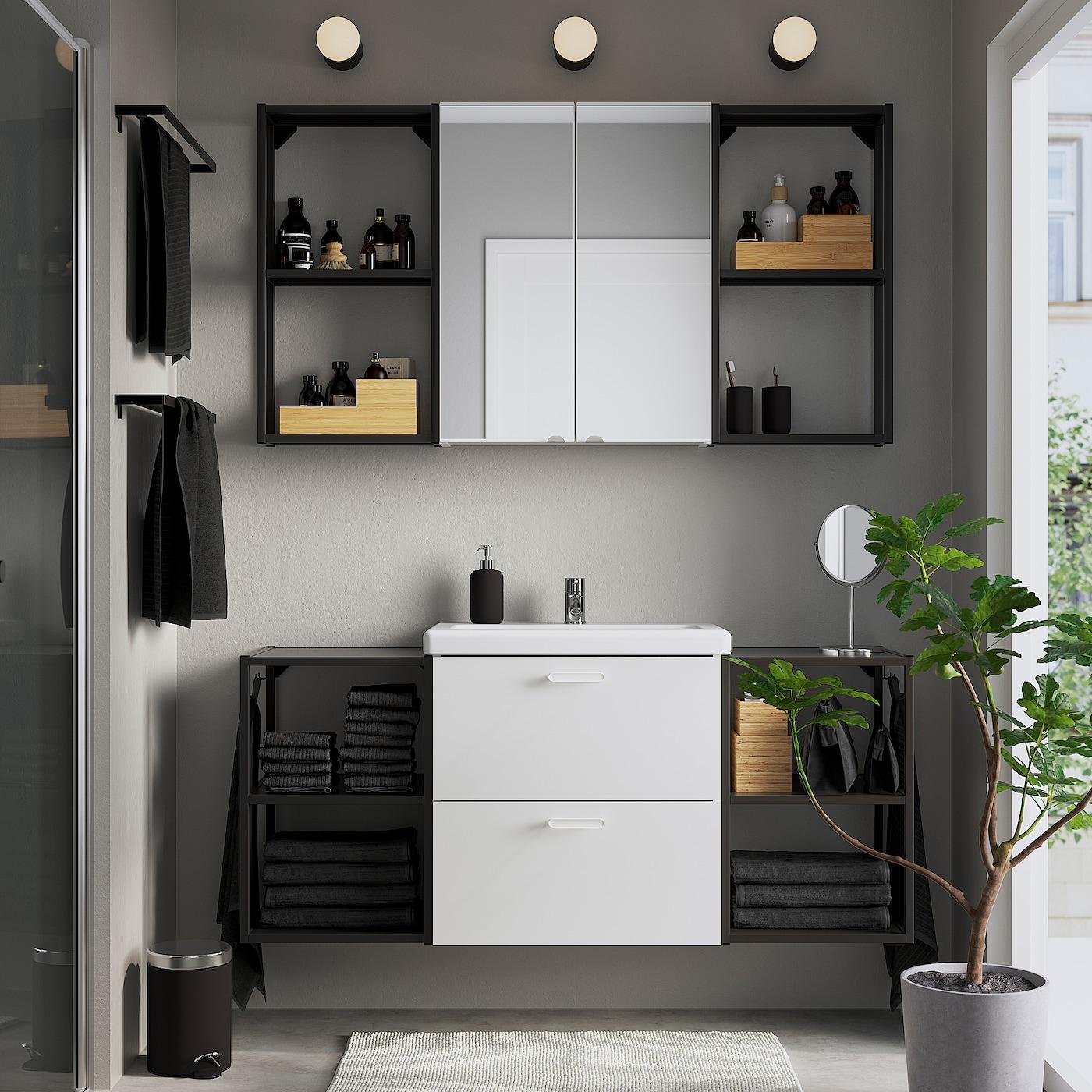 ENHET / TVÄLLEN Nábytok do kúpeľne, 18-d súpr, biela/antracit Batérie PILKÅN, 140x43x65 cm