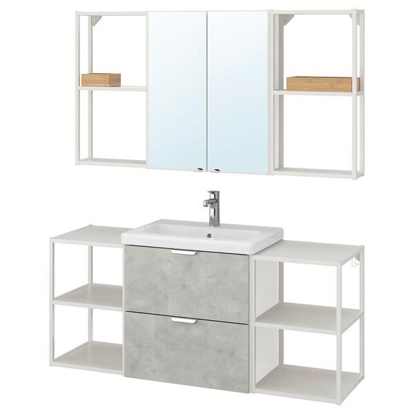 ENHET / TVÄLLEN Nábytok do kúpeľne, 18-d súpr, imitácia betónu/biela Batérie BROGRUND, 140x43x65 cm