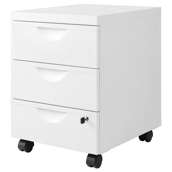 ERIK Skrinka s 3 zásuvkami/kolieska, biela, 41x57 cm