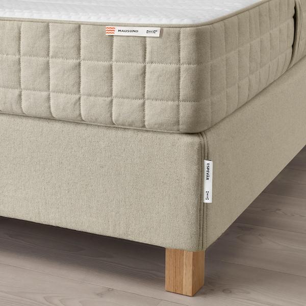 ESPEVÄR Čalúnená posteľ, Mausund stredne tvrdý/prírodná, 140x200 cm
