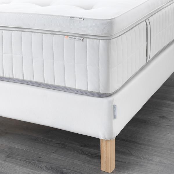 ESPEVÄR čalúnená posteľ Hokkåsen tvrdý/Tustna biela 200 cm 180 cm 20 cm