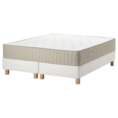 ESPEVÄR/VATNESTRÖM Čalúnená posteľ, biela/tvrdý prírodná, 180x200 cm