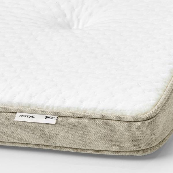 ESPEVÄR/VATNESTRÖM Čalúnená posteľ, tvrdý/Tistedal prírodná, 180x200 cm