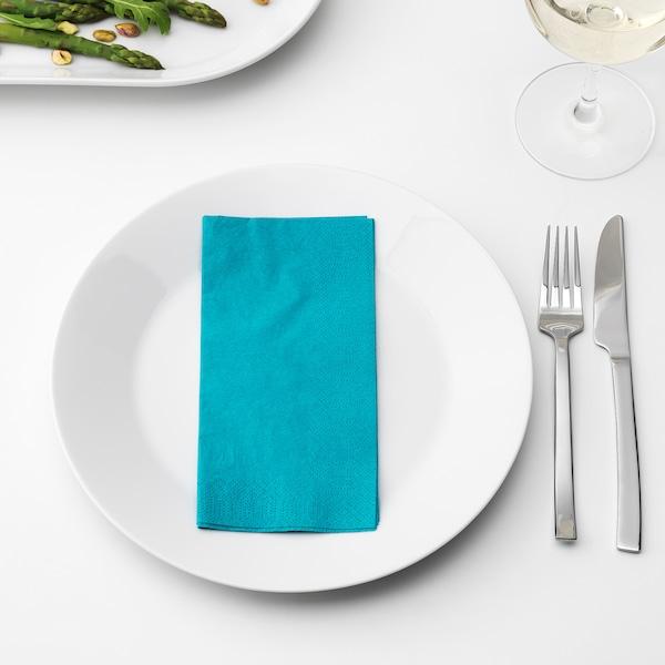 FANTASTISK papierové obrúsky tyrkysová 40 cm 40 cm 50 ks