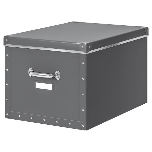 FJÄLLA škatuľa s vrchnákom tmavosivá 50 cm 56 cm 35 cm 30 cm