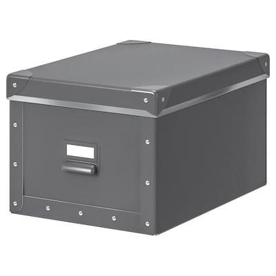 FJÄLLA škatuľa s vrchnákom tmavosivá 35 cm 26 cm 36 cm 25 cm 20 cm